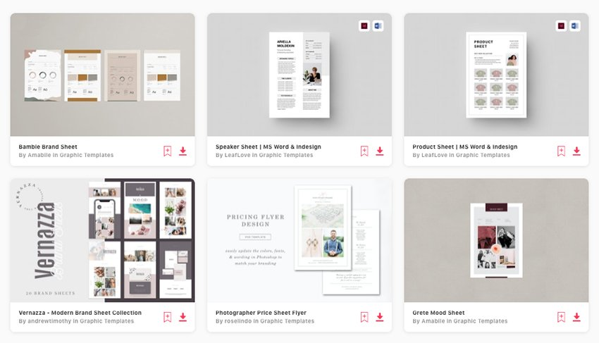 Envato Elements' selection of premium fact sheet templates in MS Word
