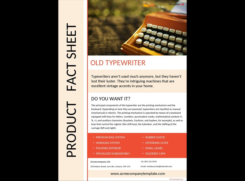 Product Free Fact Sheet Template
