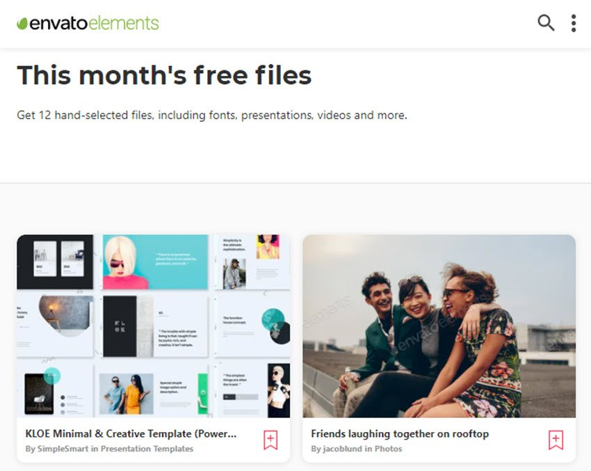 Each month Envato Elements offers a different selection of free files for you to try. You can also find free files each month on GraphicRiver.