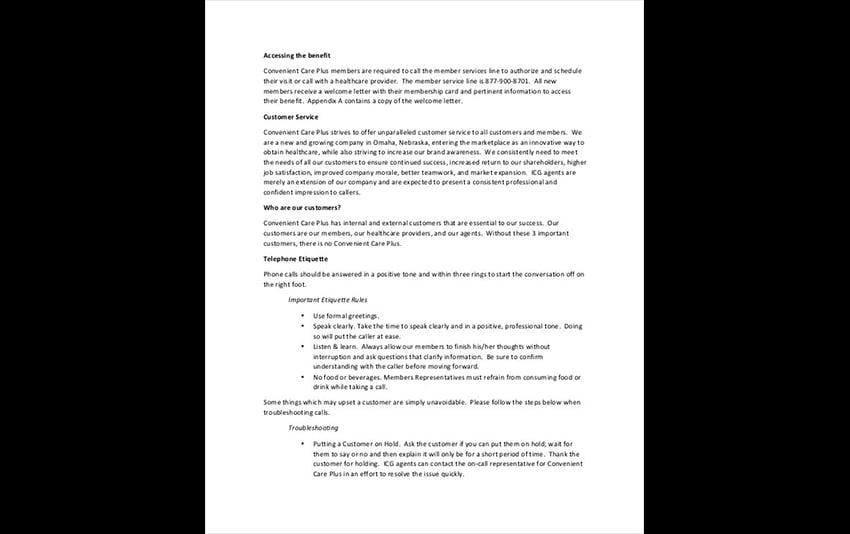 Call Center Free Training Workbook Template Word Sample