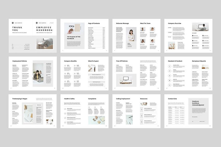 Employee Handbook MS Word, comes sections broken down well. A premium template from Envato Elements