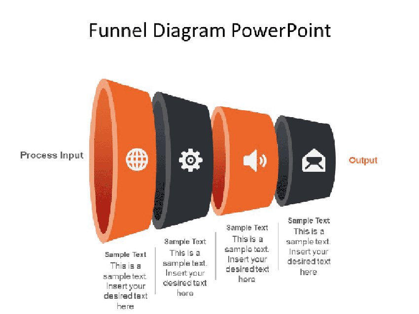 Horizontal - Four Level Funnel Diagram PowerPoint