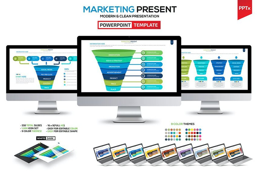 Marketing & Funnel Powerpoint, a premium funnel template from Envato Elements