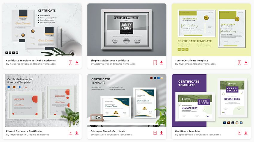 Envato Elements' selection of premium diploma and certificate template Word