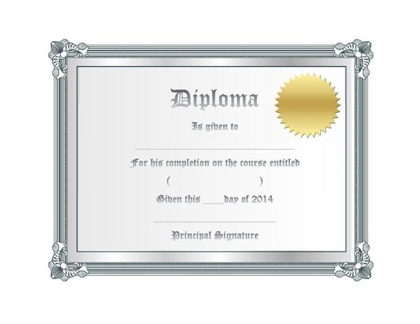 Frame Free High School Diploma and Certificate Template