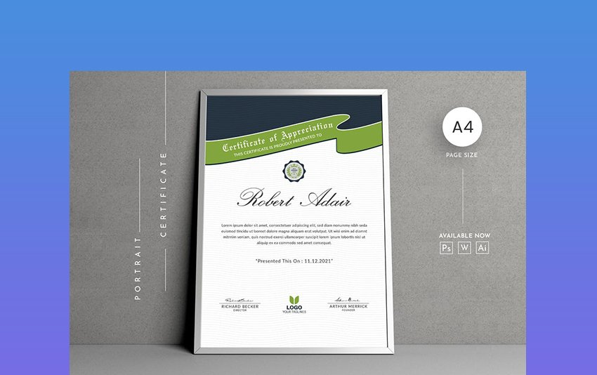 Portrait Diploma and Certificate Template