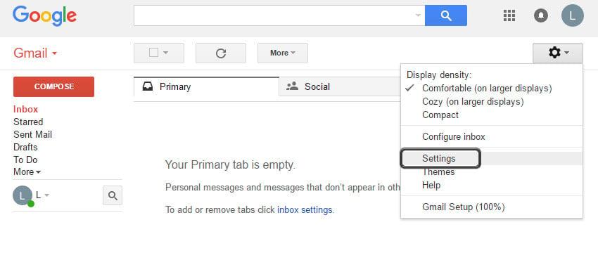 Locate Gmail settings