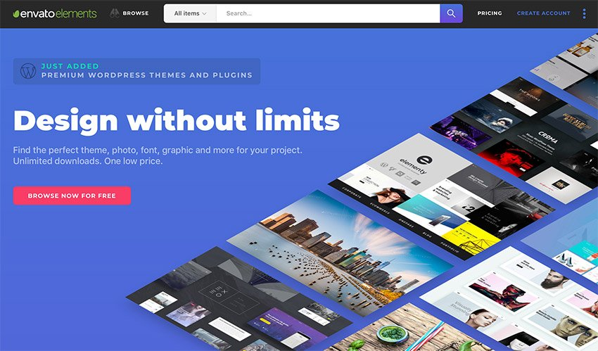 Envato Elements - unlimited template downloads for one low price