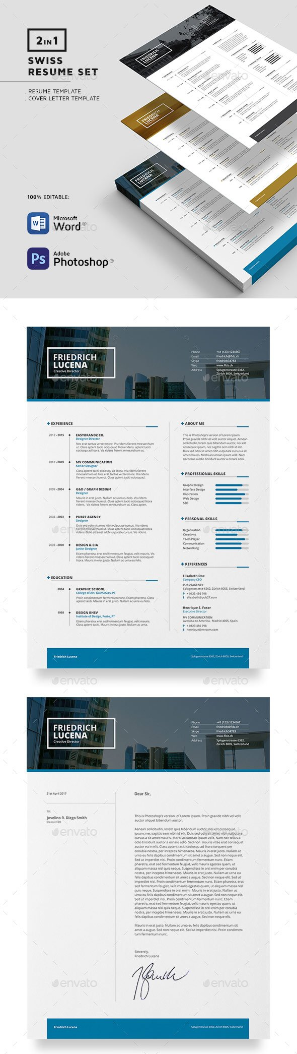 swiss resume template with organize resume sections and formatting