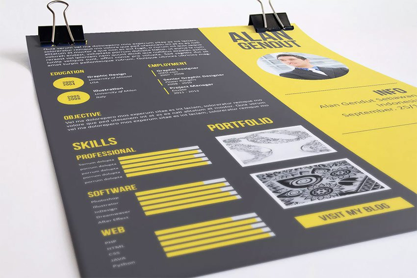 Example of modern creative infographic resume template design