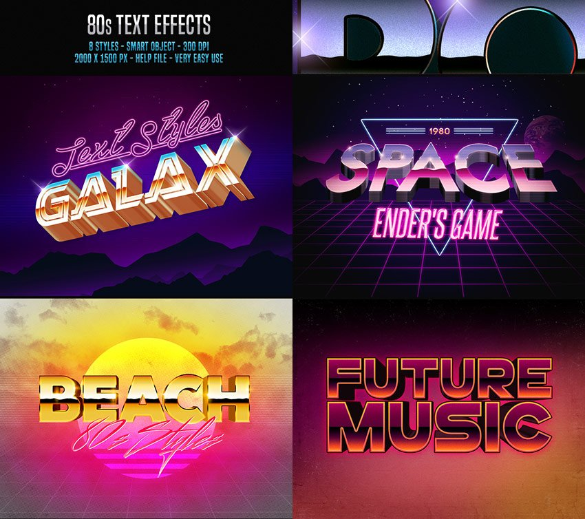 80s - Vibrant Photoshop Text Effects