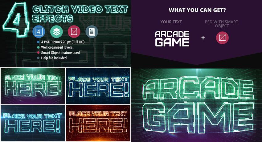 Glitch Video PSD Text Effects