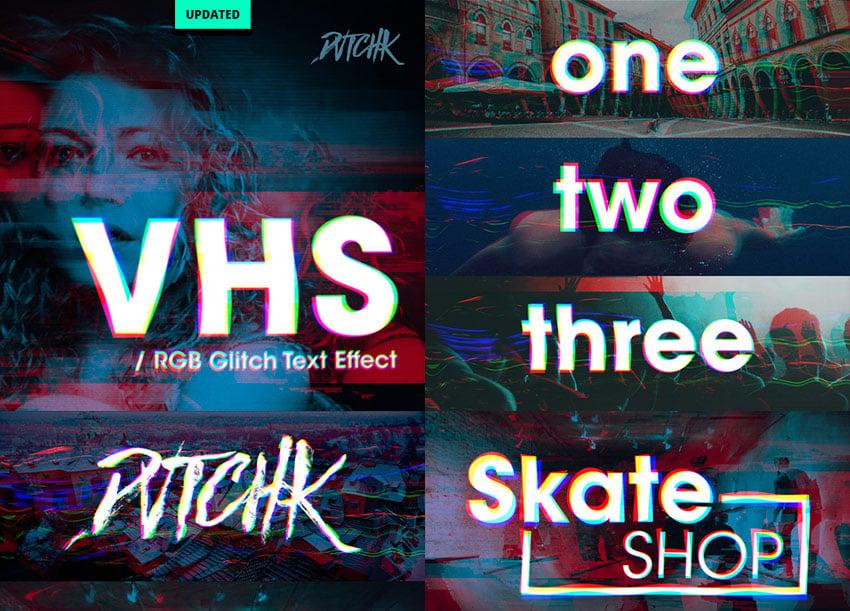 VHS - RGB Glitch Photoshop Text Effect