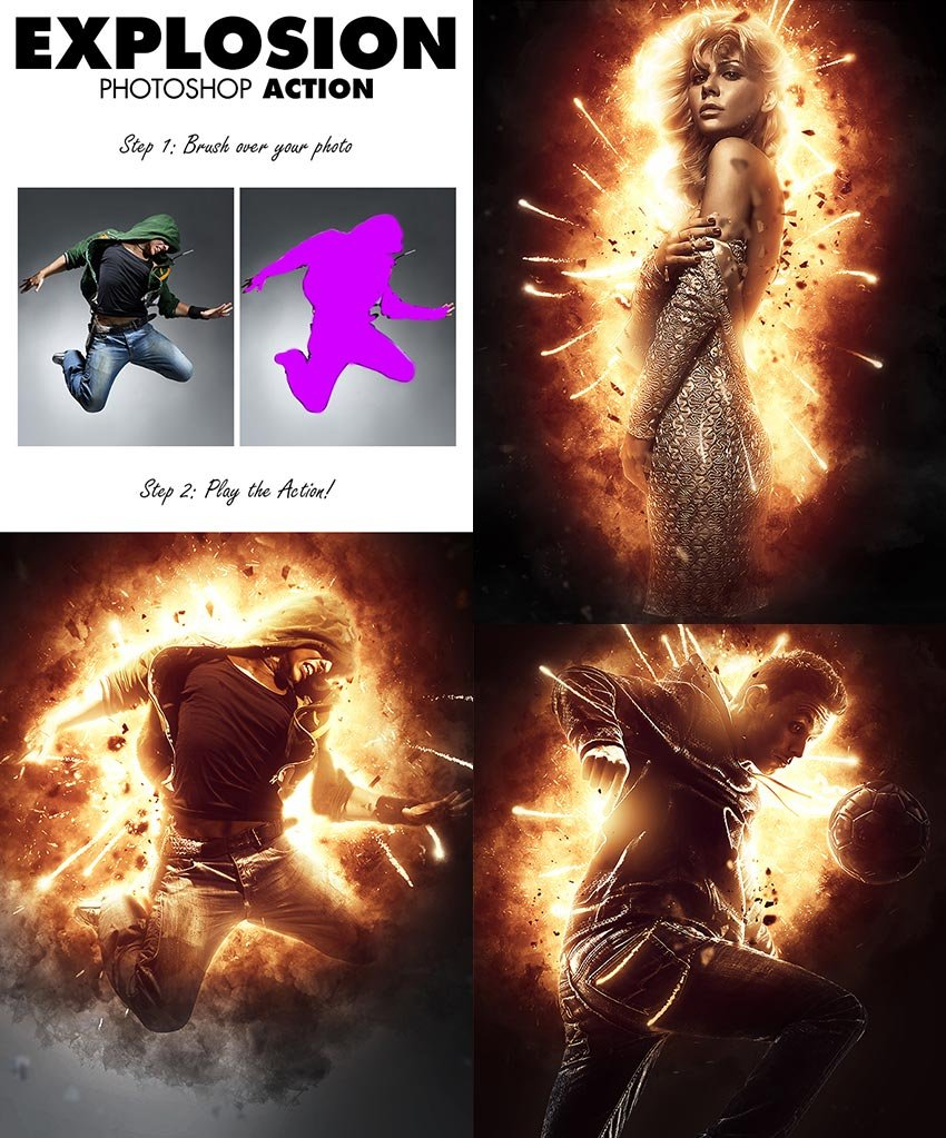 Explosion Photo Effect Photoshop Action