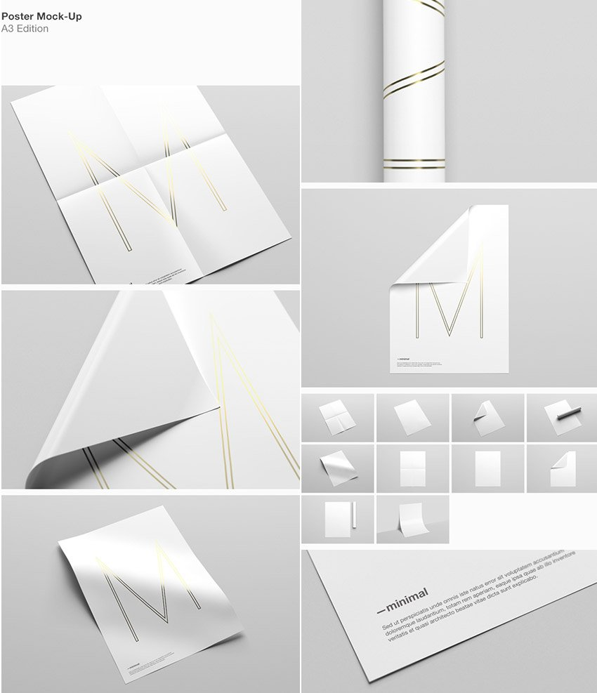 A3 Simple PSD Poster Mock-Up Designs