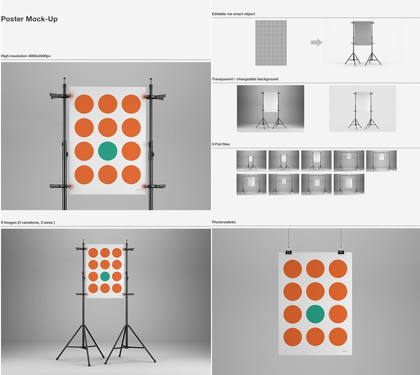 Studio-Style PSD Poster Mock-Up Templates