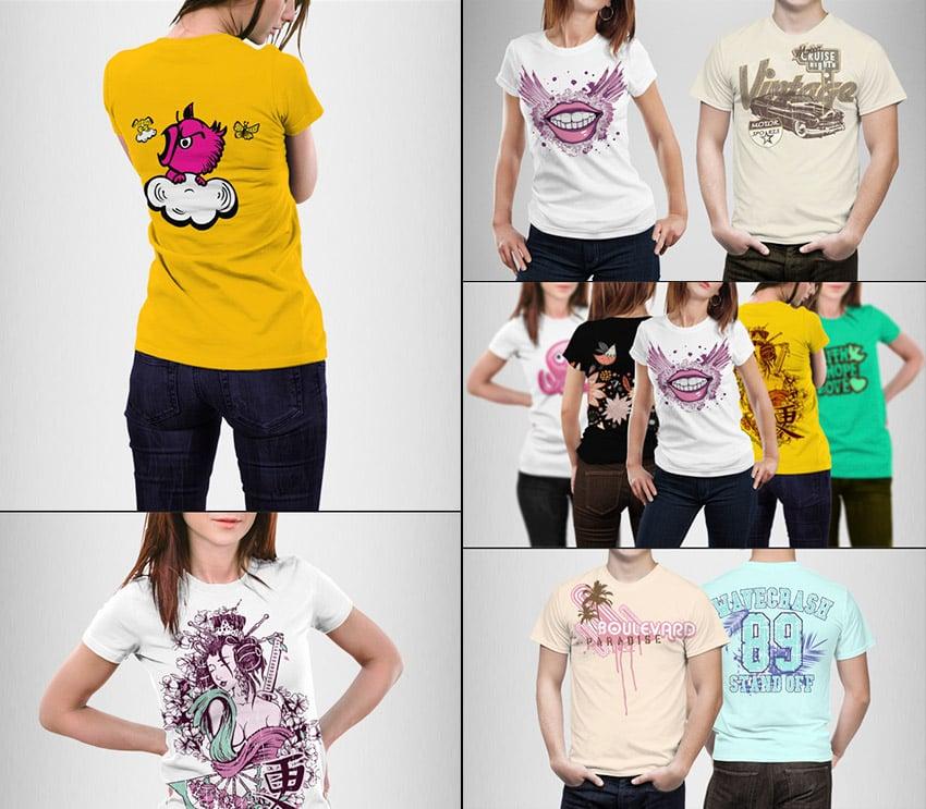 Man and Woman T-Shirt Mock-Up PSD Designs