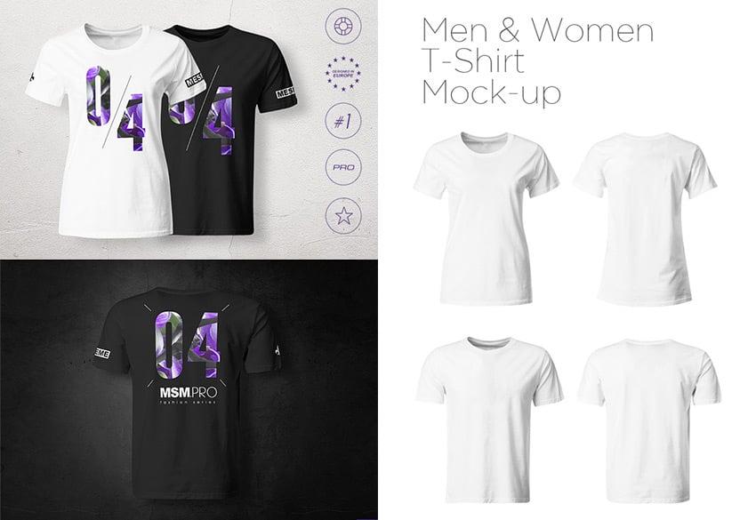 Men Women T-Shirt PSD Mock-up Templates