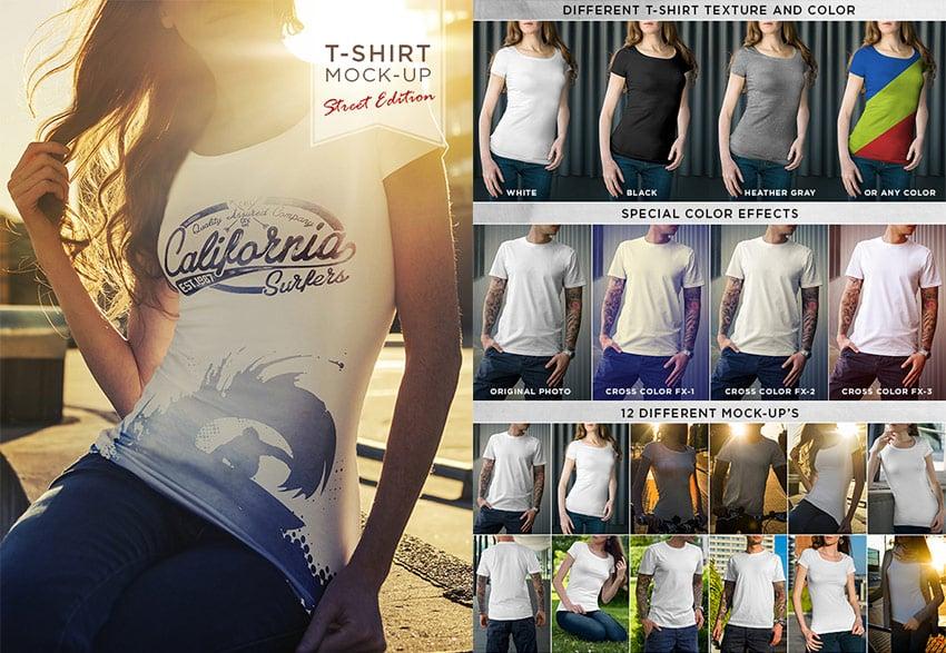 Street T-Shirt PSD Mock-Up Template Designs