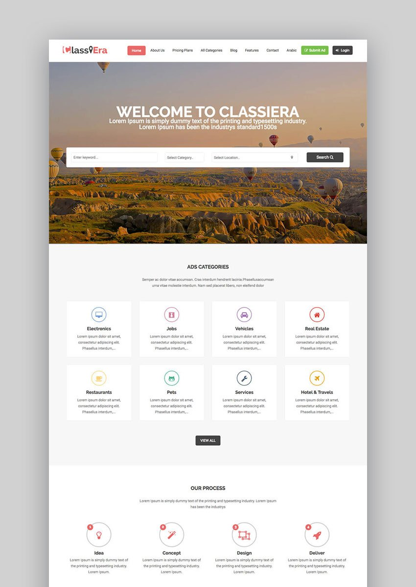 Classiera Classified Ads Listing WordPress Business Theme