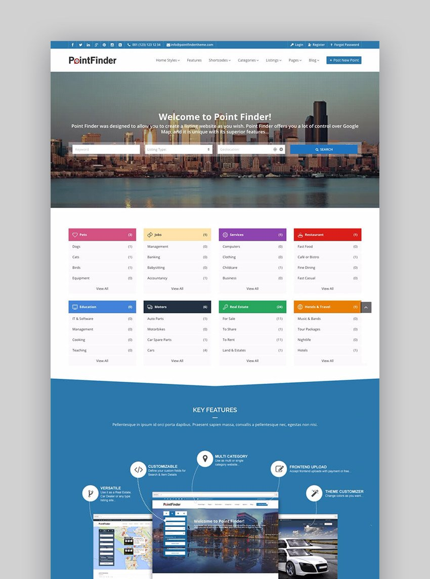 Point Finder Business Directory WordPress Website Template
