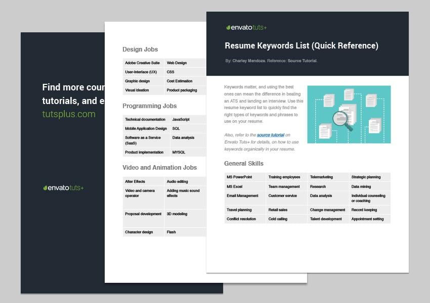 Resume keyword list - free PDF download