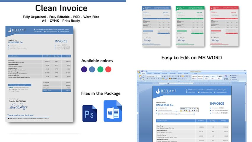 Clear Invoice Word Template Doc Files