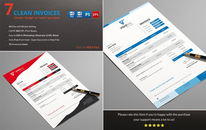 Simple Invoice Template Word With Multiple Colors