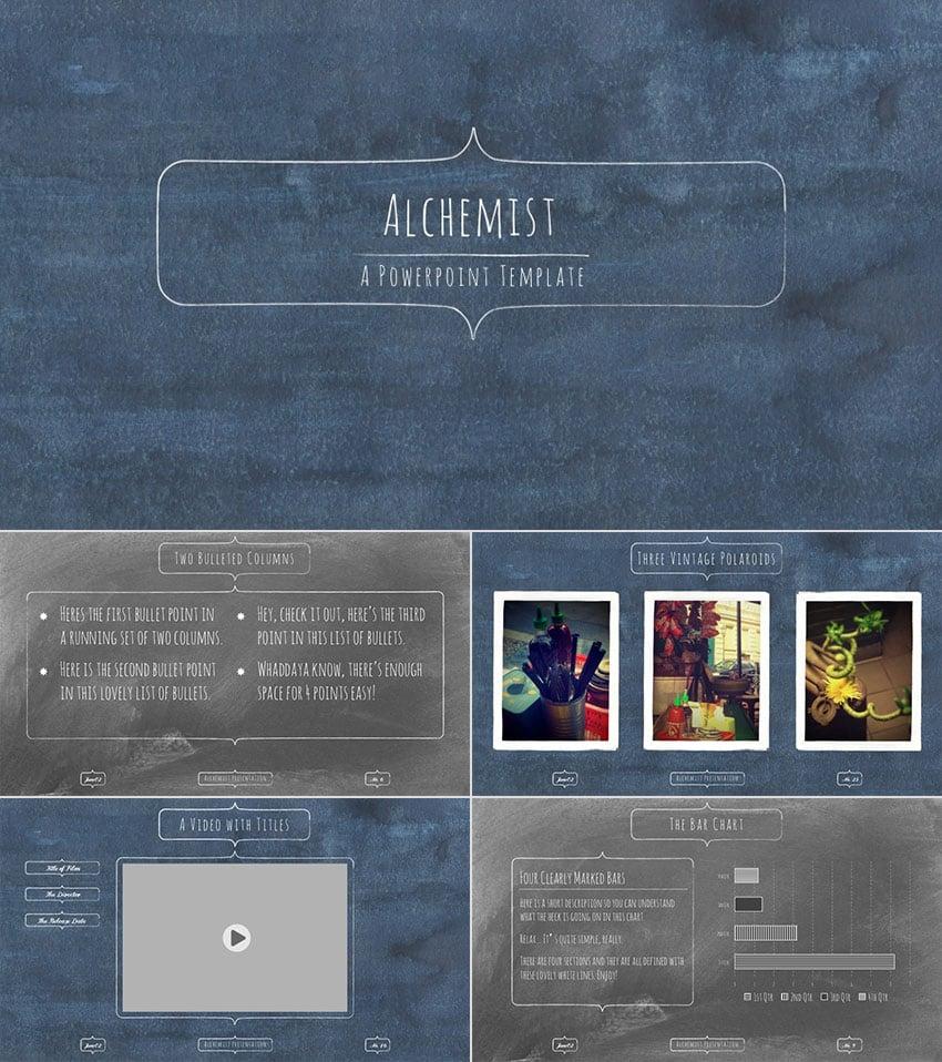 Alchemist PowerPoint Template School Chalkboard Background