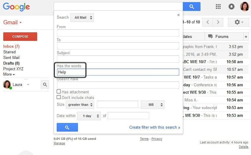 Search Gmail Anywhere Inside a Message