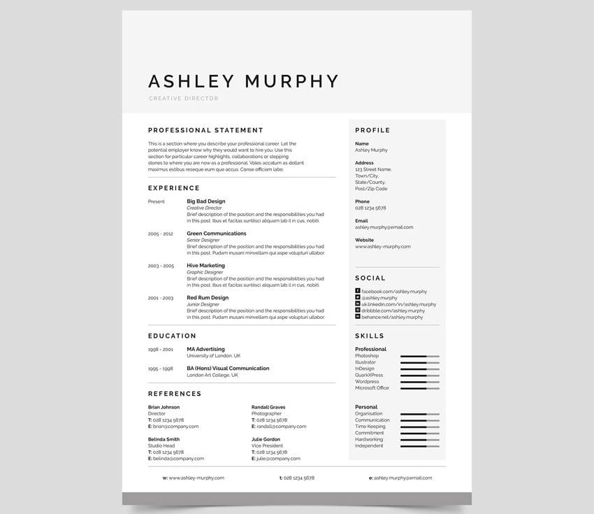 Simple resume template design