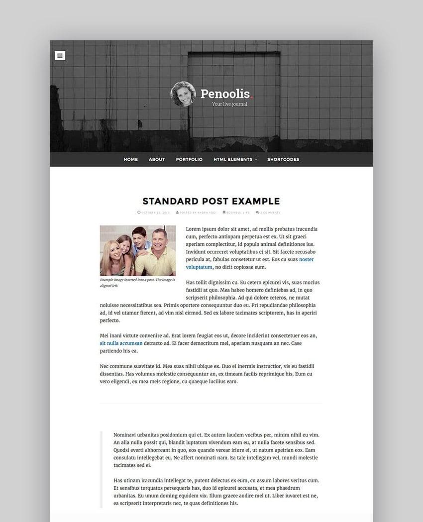 Penoolis Responsive WordPress Personal Blog Writer Theme