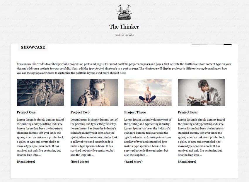 The Thinker WordPress theme writing showcase