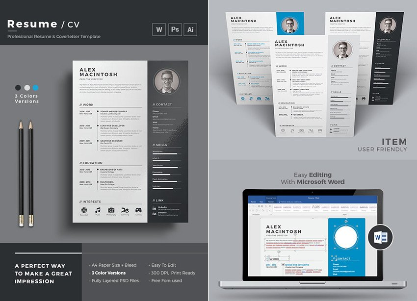 Simple Word Resume and Cover Letter Template