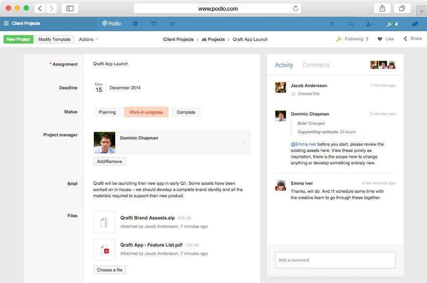 Podio - Customizable Online Project Management software