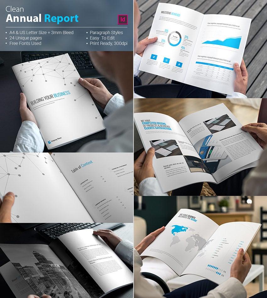 Clean Corporate Annual Report InDesign Template Design