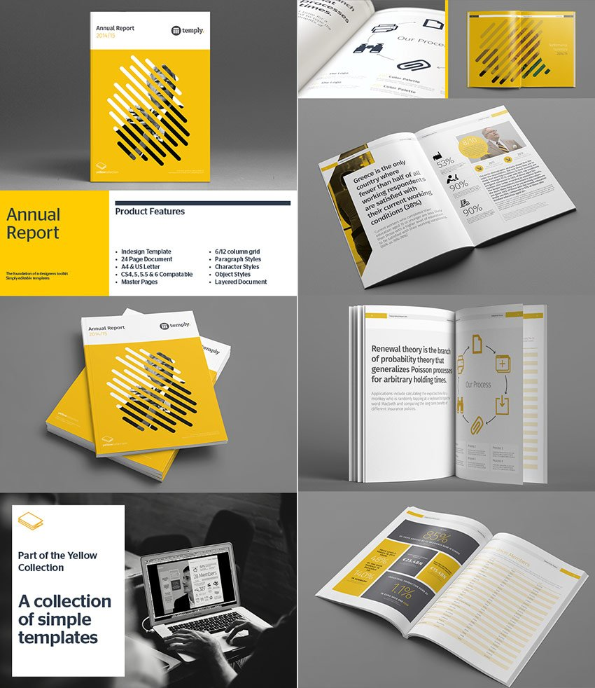 Creative Annual Report InDesign Template With Stylish Shape Cover