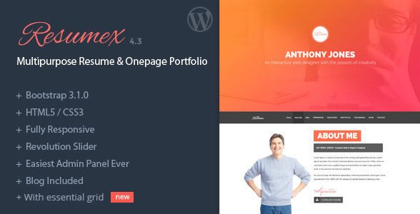 ResumeX WordPress website theme