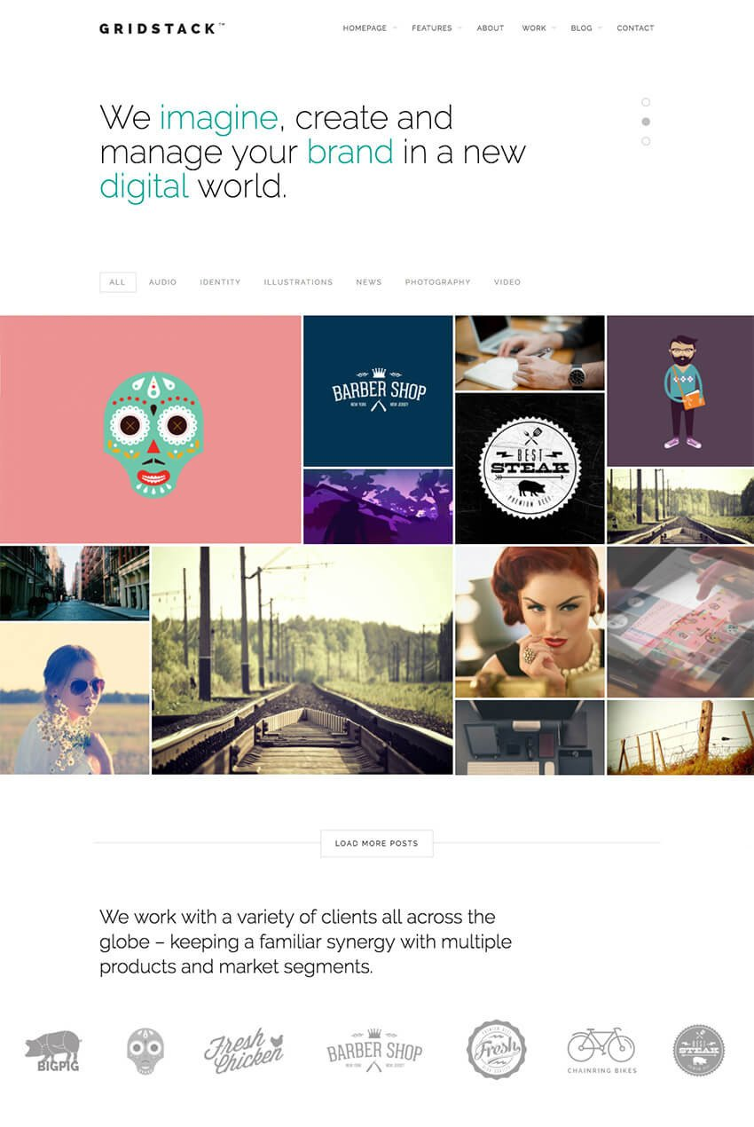 GridStack Modern Agency WordPress Theme With Gallery