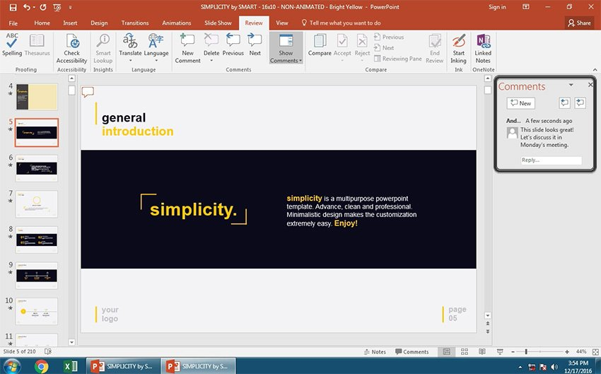 PowerPoint Comment on the right side