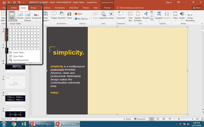 Insert Table in PowerPoint