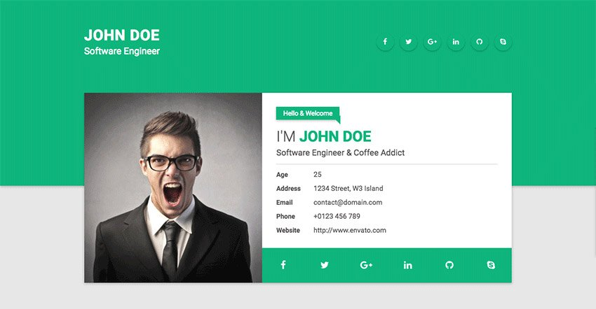 Tile HTML resume website template with personality