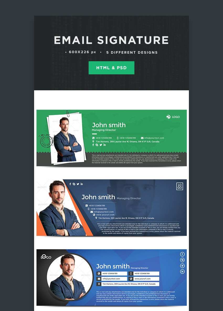 Email Signature Template With Creative PSD HTML Formats