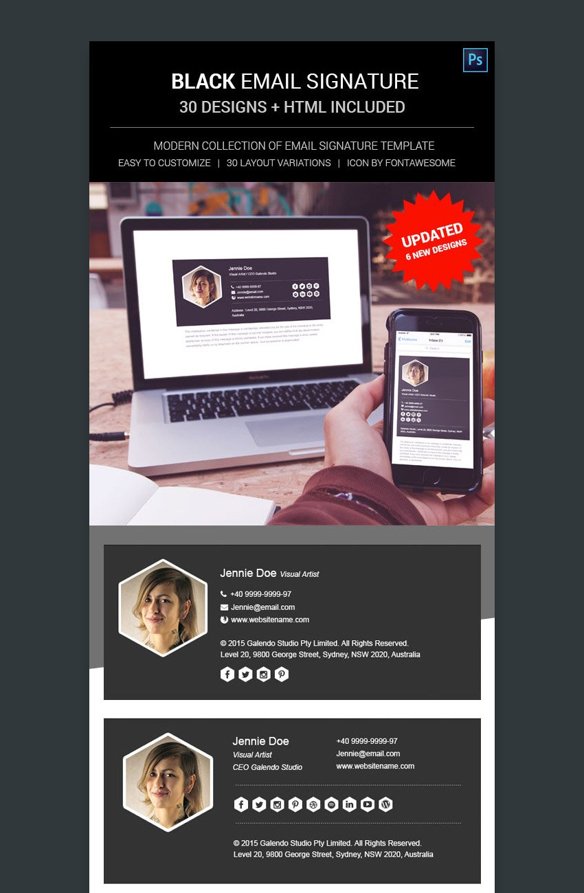 Black Email Signatures With Proper Professional Template Formats