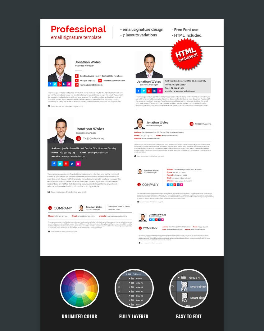 Business Email Signature Templates PSD HTML Formats