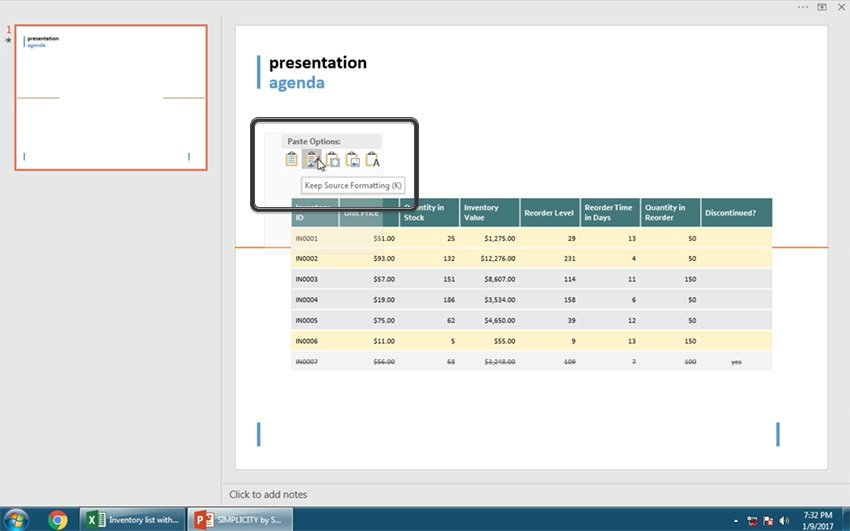 Keep Source Formatting insert excel table option