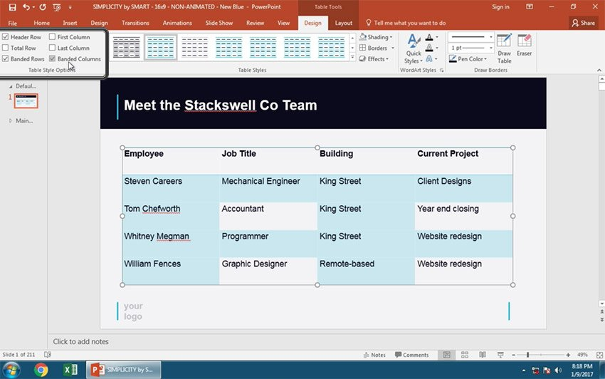More PowerPoint Table Style Options