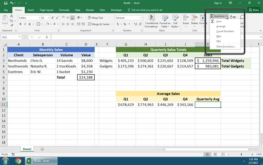 Autosum in Excel math functions
