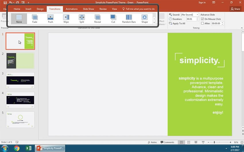PowerPoint Slide transitions tab