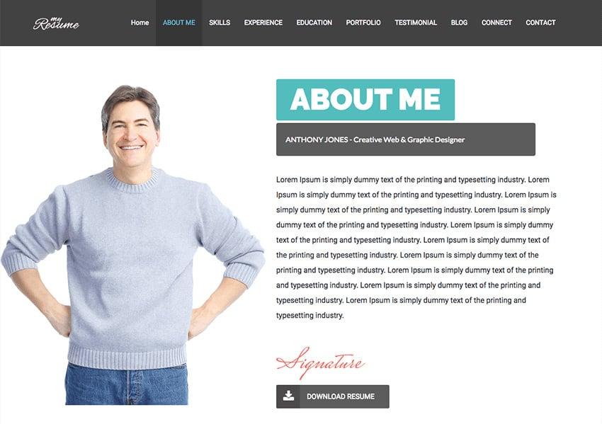 ResumeX WordPress theme